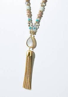 LOFT Beaded Tassel Necklace
