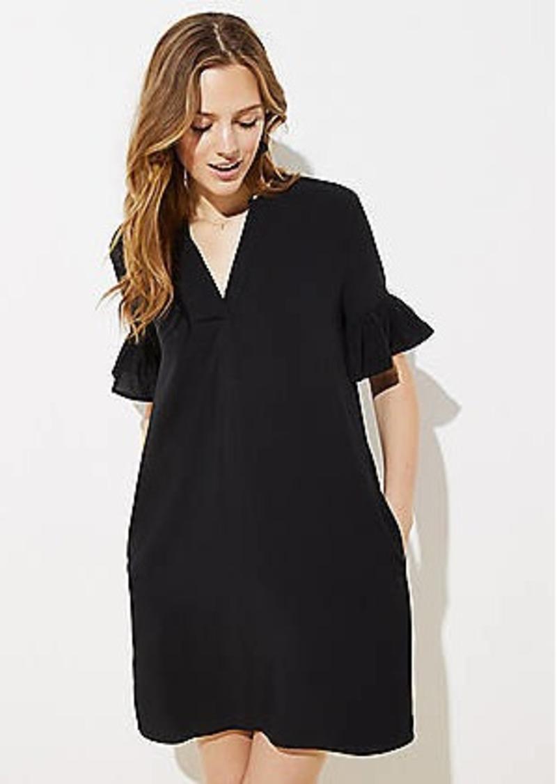 LOFT Bell Cuff Split Neck Tunic Dress