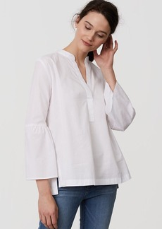 Bell Sleeve Split Neck Softened Shirt