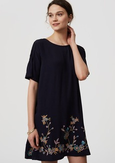 Bird Embroidered Swing Dress