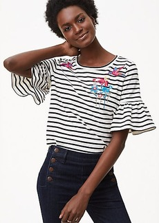 LOFT Bird Stripe Ruffle Cuff Top