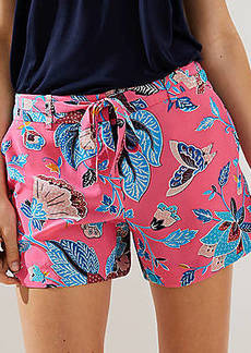 LOFT Bloom Tie Waist Fluid Shorts