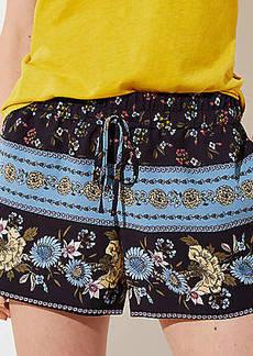 LOFT Border Floral Fluid Drawstring Shorts