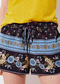 LOFT Border Floral Fluid Drawstring Shorts