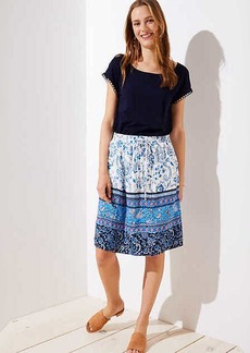 LOFT Border Floral Pocket Drawstring Skirt
