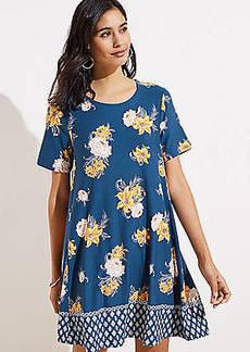 ced44e91eb1 LOFT Border Floral Short Sleeve Swing Dress