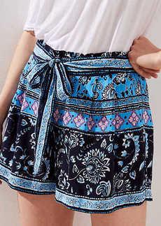 LOFT Border Floral Tie Waist Fluid Shorts