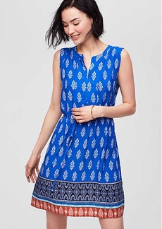 Border Paisley Tie Waist Dress