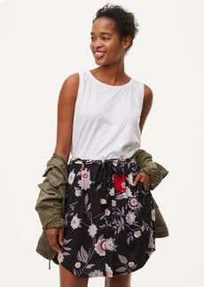 Botanical Tie Waist Button Skirt