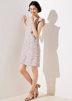 LOFT Bouclé Flutter Shift Dress