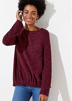 LOFT Boucle Gathered Hem Sweatshirt