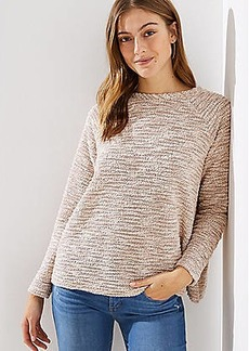 LOFT Boucle Split Back Mixed Media Top