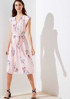 LOFT Bouquet Tie Waist Flutter Dress