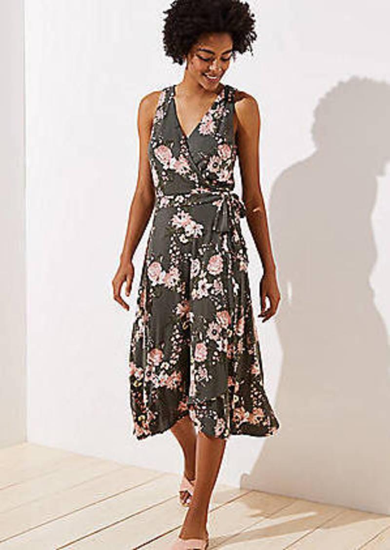 LOFT Bouquet Wrap Midi Dress