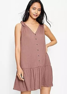 LOFT Bow Strap Button Flounce Dress