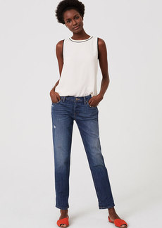 LOFT Boyfriend Jeans in Destructed Mid Indigo Wash