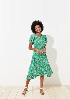 LOFT Buttercup Puff Sleeve Flounce Dress