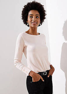 LOFT Button Cuff Long Sleeve Tee