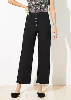 LOFT Button Front High Waist Wide Leg Ankle Pants