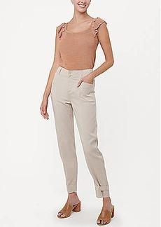 LOFT Button Tab Hem Slim High Waist Ankle Pants