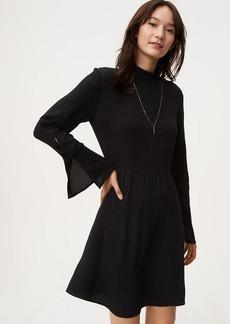 Button Trim Bell Sleeve Dress