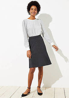 LOFT Button Trim Midi Skirt