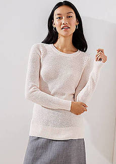 LOFT Cable Knit Trim Stitchy Sweater