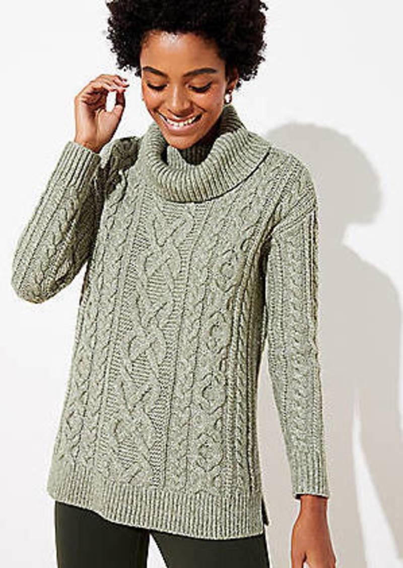 LOFT Cable Turtleneck Sweater