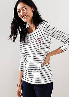 LOFT Cat Embroidered Striped Tee