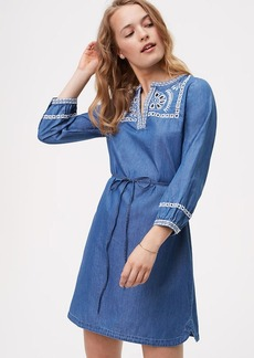 LOFT Chambray Embroidered Shirtdress