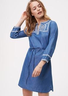 LOFT Chambray Embroidered Shirtdress