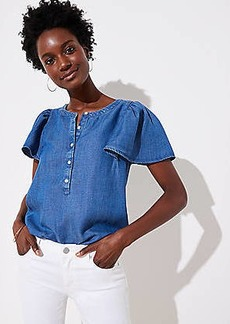 LOFT Chambray Flutter Henley Top