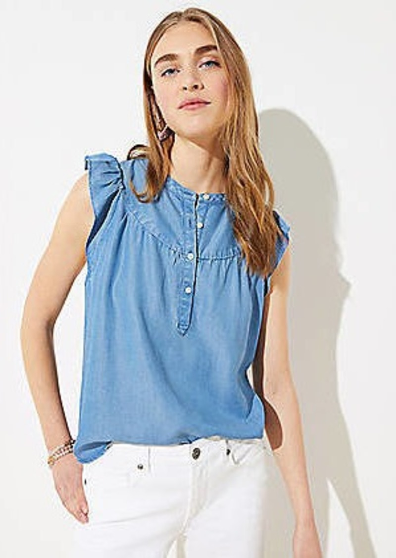 LOFT Chambray Henley Shell