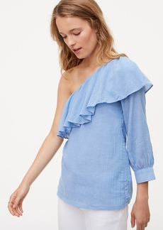 LOFT Chambray One Shoulder Blouse