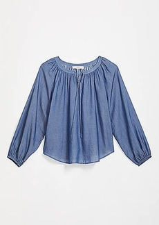 LOFT Chambray Peasant Blouse