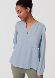 LOFT Chambray Peplum Softened Shirt