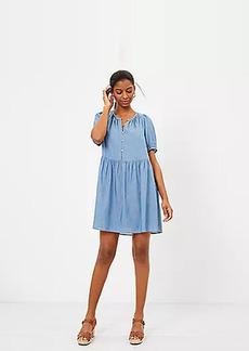 LOFT Chambray Puff Sleeve Swing Dress