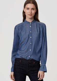 Chambray Ruffle Neck Softened Shirt