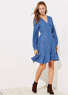 LOFT Chambray Ruffle Wrap Dress
