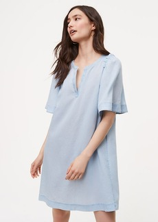Chambray Shoulder Ruffle Shift Dress