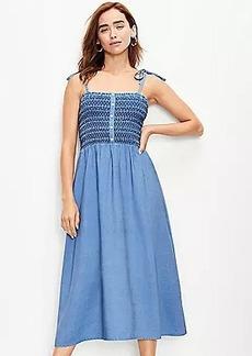LOFT Chambray Smocked Strappy Midi Dress