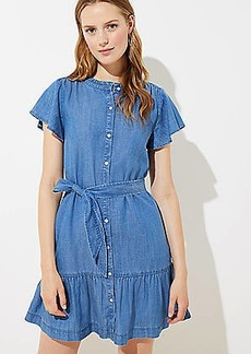 LOFT Chambray Tie Waist Flutter Dress