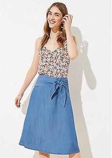 LOFT Chambray Tie Waist Midi Skirt