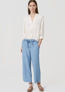 Chambray Wide Leg Tie Waist Pants in Light Indigo Wash