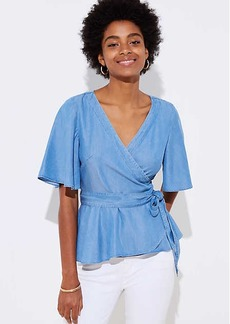 LOFT Chambray Wrap Top