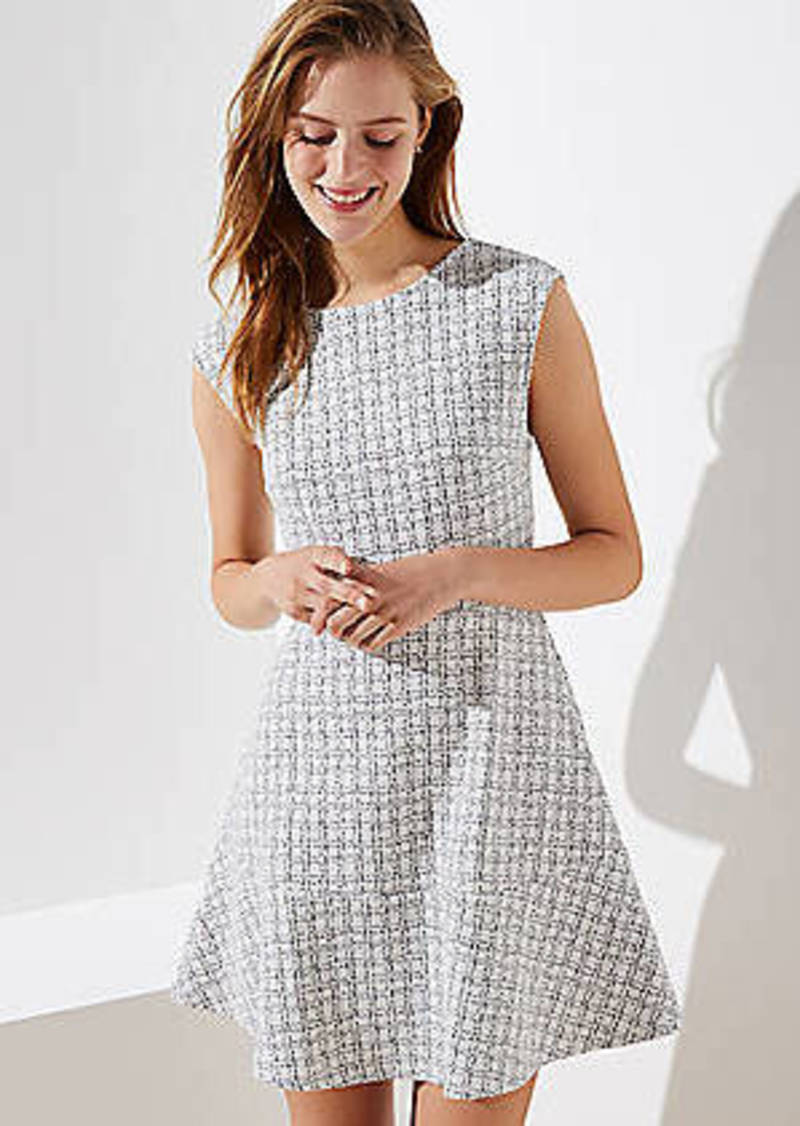 LOFT Checked Jacquard Flare Dress