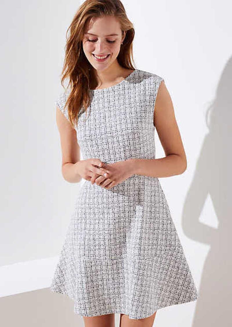 LOFT Checked Jacquard Flare Dress
