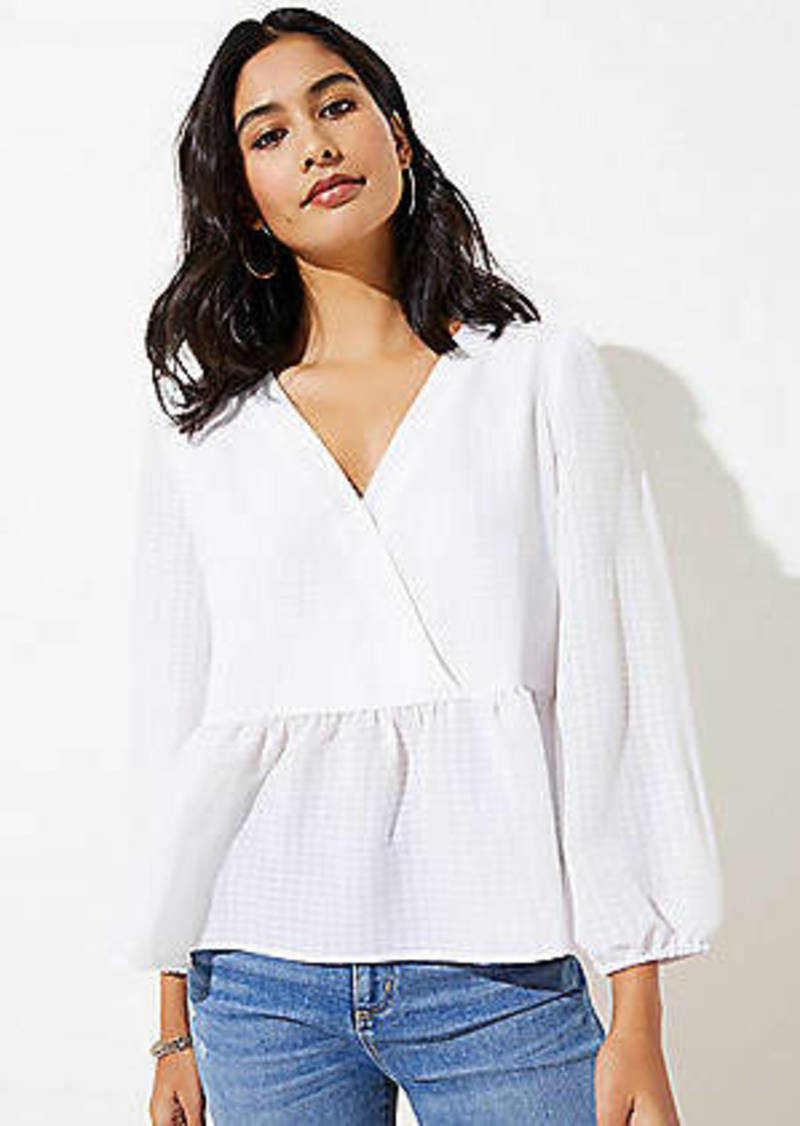 LOFT Checked Peplum Blouse