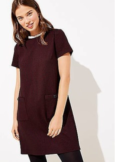 LOFT Checked Ruffle Neck Pocket Shift Dress