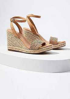 LOFT Cheetah Print Ankle Strap Espadrille Wedge Sandals